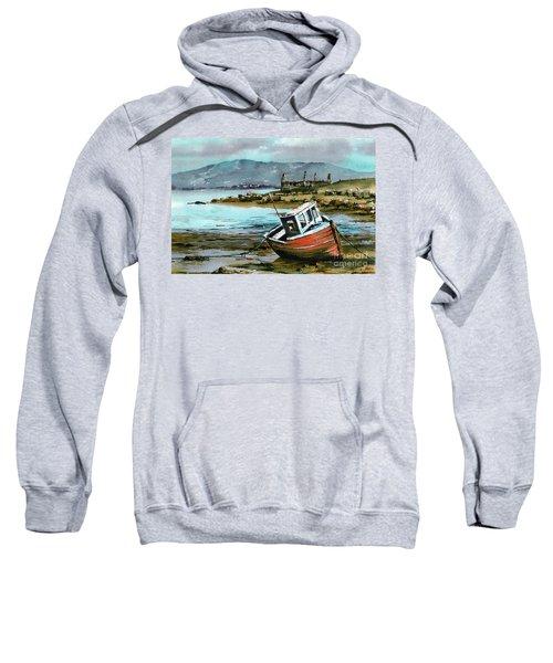 Mayo..red Boat At Coraun. Sweatshirt