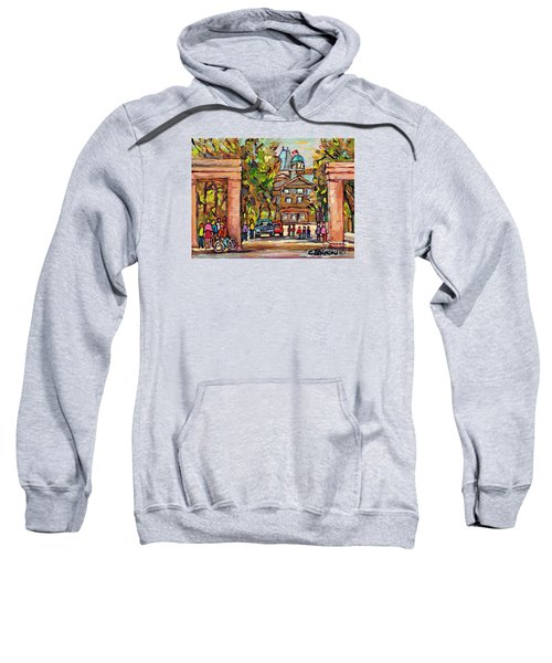 Mcgill Gates  Entrance Of Mcgill University Montreal Quebec Original Oil Painting Carole Spandau Sweatshirt