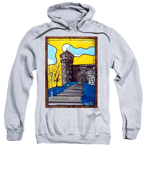 Sweatshirt featuring the painting Medieval Bastion -  Mace Tower Of Buda Castle Hungary By Dora Hathazi Mendes by Dora Hathazi Mendes