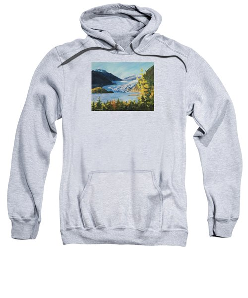 Sweatshirt featuring the painting Mendenhall Glacier Juneau Alaska by Yulia Kazansky