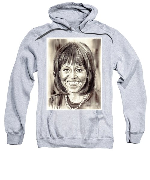 Michelle Obama Watercolor Portrait Sweatshirt