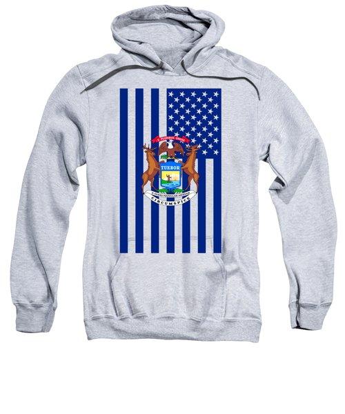 Michigan State Flag Graphic Usa Styling Sweatshirt by Garaga Designs