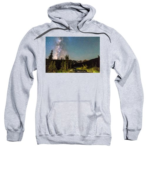 Milky Way Magic Above Longs Lake And The Indian Peaks Sweatshirt