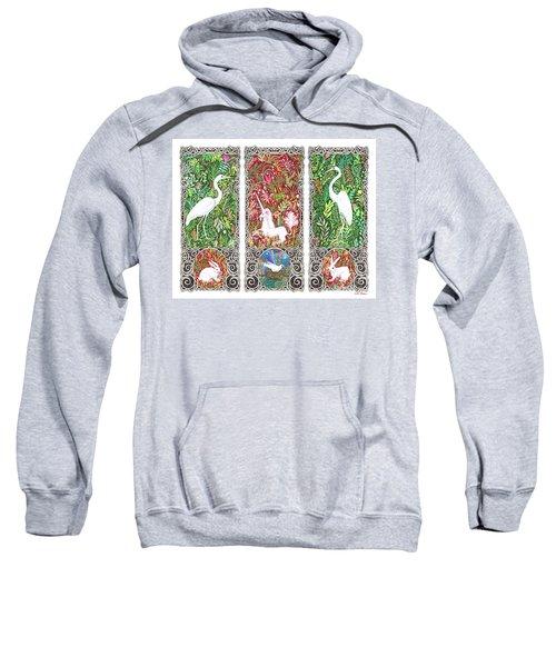 Millefleurs Triptych With Unicorn, Cranes, Rabbits And Dove Sweatshirt