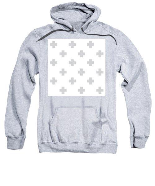 Minimalist Swiss Cross Pattern - Grey, White 02 Sweatshirt