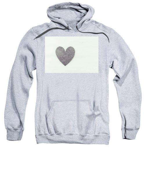 Minimalistic Silver Glitter Heart Sweatshirt