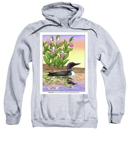 Minnesota State Bird Loon And Flower Ladyslipper Sweatshirt by Crista Forest