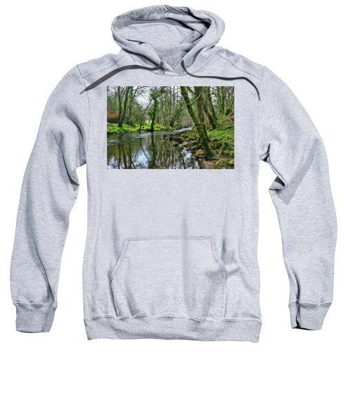 Misty Day On River Teign - P4a16017 Sweatshirt