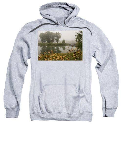 Misty Pond Bridge Reflection #3 Sweatshirt
