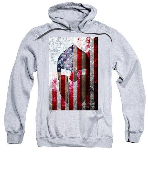 Molon Labe - Spartan Helmet Across An American Flag On Distressed Metal Sheet Sweatshirt