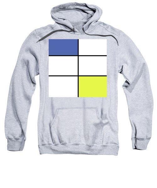 Mondrian Style Minimalist Pattern In Blue And Yellow Sweatshirt