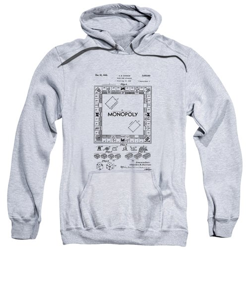 Sweatshirt featuring the drawing Monopoly Original Patent Art Drawing T-shirt by Edward Fielding