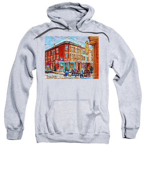 Montreal Storefront Paintings Debullion Street Hockey Art Quebec Winterscenes C Spandau Canadian Art Sweatshirt