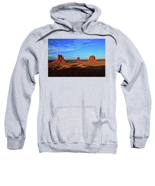 Monument Valley 20 - West Mitten , East Mitten, And Merrick Butte Sunset Sweatshirt