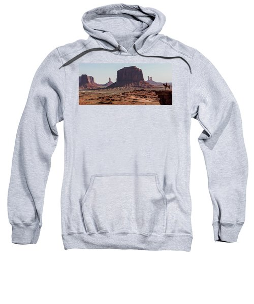 Monument Valley Man On Horse Sunrise  Sweatshirt
