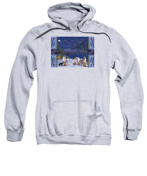 Sweatshirt featuring the painting Moon When The Rivers Dream by Chholing Taha