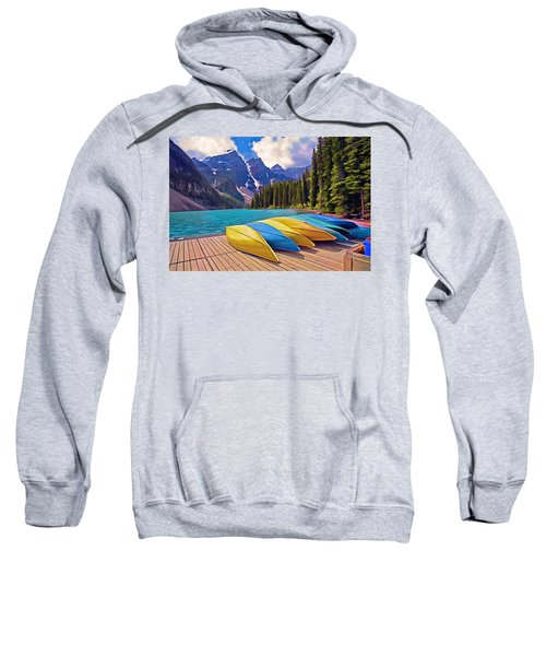 Moraine Lek, Banff National Park Canada Sweatshirt