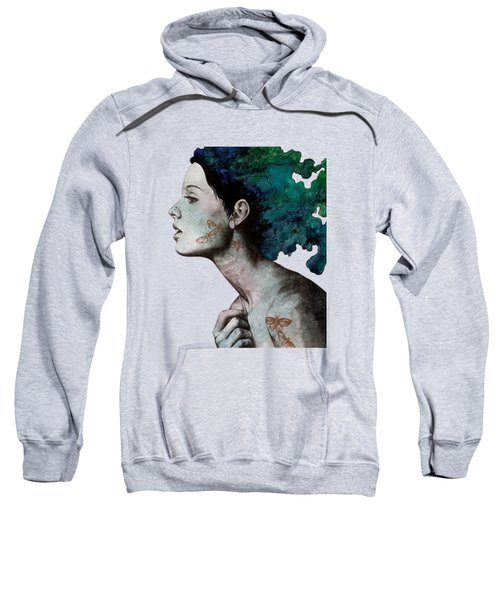 Moral Eclipse - Colorful Hair Woman With Moths Tattoos Sweatshirt