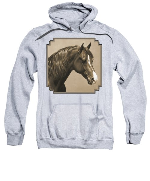 Morgan Horse Painting In Sepia Sweatshirt by Crista Forest