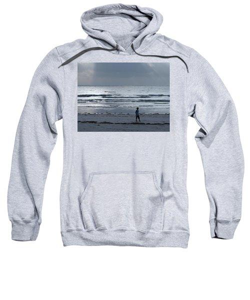 Morning Beach Walk On A Grey Day - Lone Dhow Sweatshirt