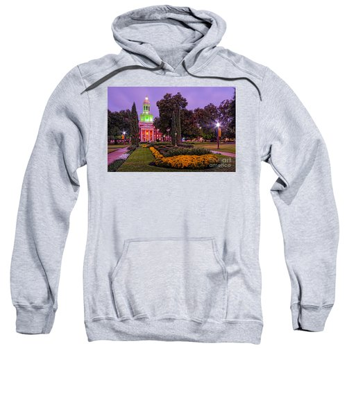 Morning Twilight Shot Of Pat Neff Hall From Founders Mall At Baylor University - Waco Central Texas Sweatshirt