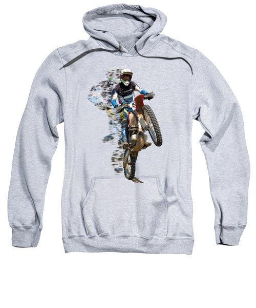 Motocross Rider With Flying Pieces Sweatshirt