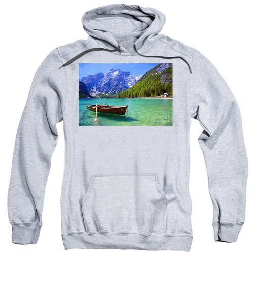 Mountain And Clear Lake With Boat Sweatshirt