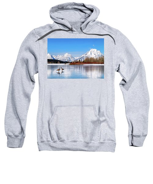 Mt Moran With Geese Sweatshirt