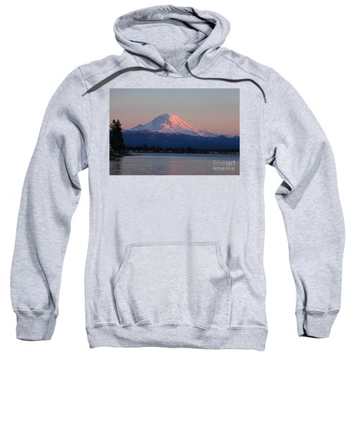 Sweatshirt featuring the photograph Mt Rainier Sunset by Peter Simmons
