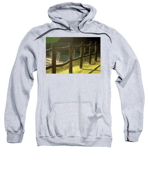 Multiple Spiderwebs On Wooden Fence Sweatshirt