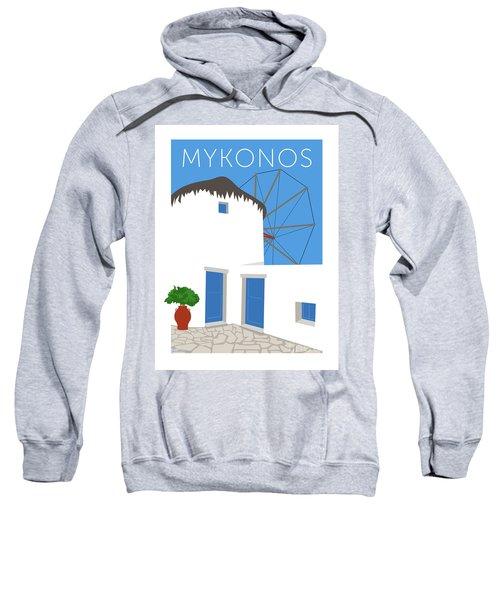 Sweatshirt featuring the digital art Mykonos Windmill - Blue by Sam Brennan