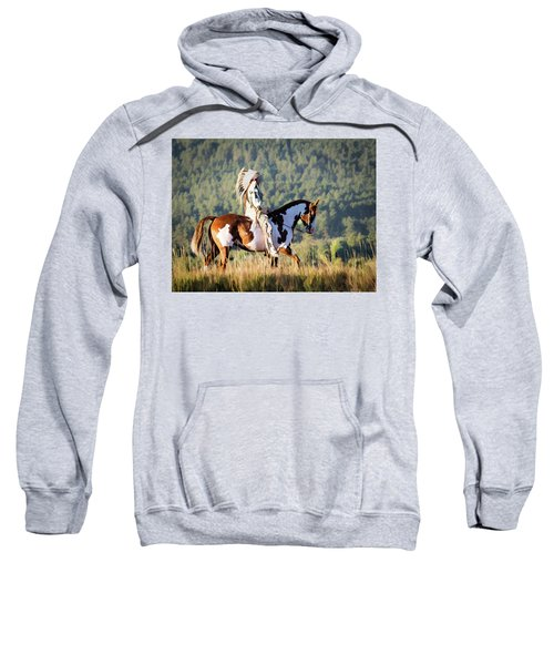 Native American On His Paint Horse Sweatshirt