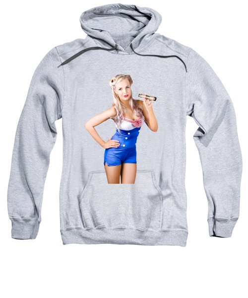 Nautical Woman In Sailor Outfit Sweatshirt