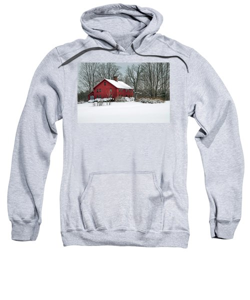 New England Colonial Home In Winter Sweatshirt