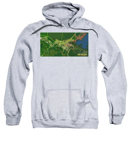 New Orleans Old Map Green Abstract Sweatshirt