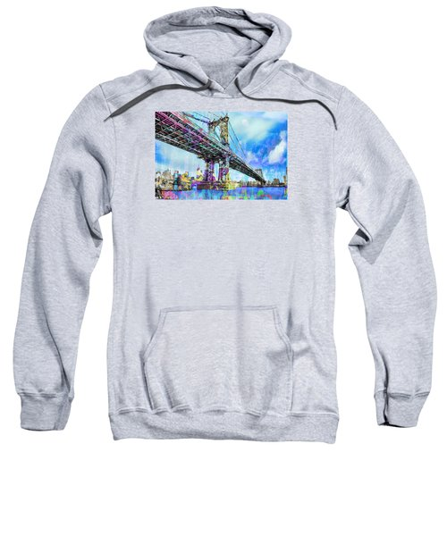 New York City Manhattan Bridge Blue Sweatshirt