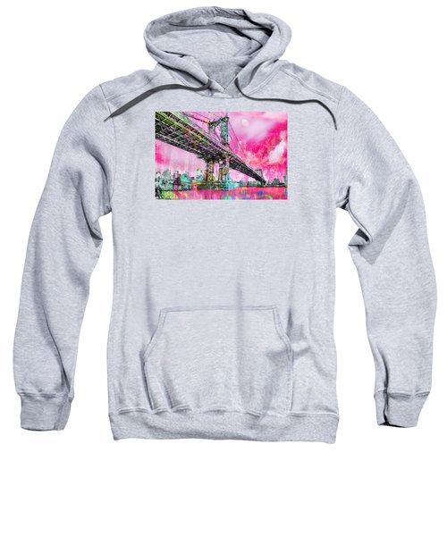 New York City Manhattan Bridge Red Sweatshirt