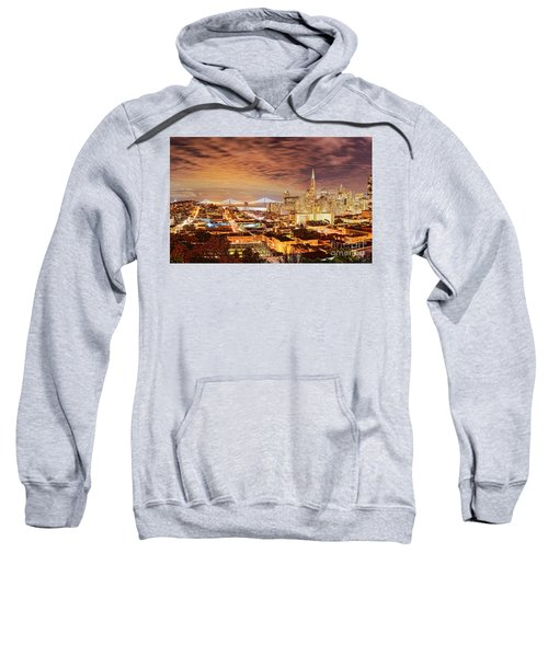 Night Panorama Of San Francisco And Oak Area Bridge From Ina Coolbrith Park - California Sweatshirt
