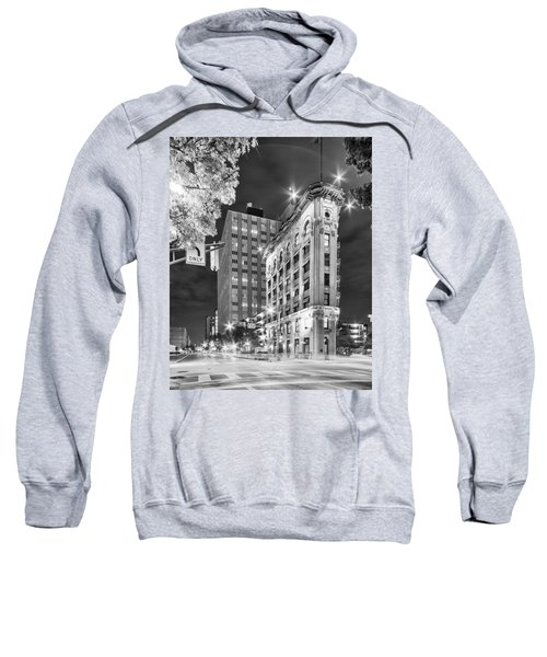 Night Photograph Of The Flatiron Or Saunders Triangle Building - Downtown Fort Worth - Texas Sweatshirt