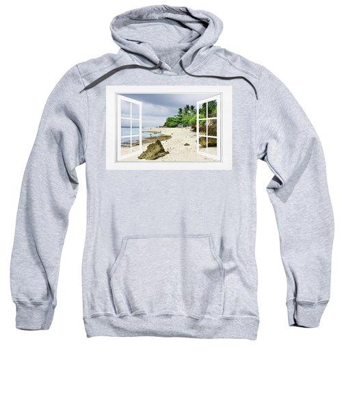 Ocean Front Beach Open White Picture Window Frame Canvas Art Vie Sweatshirt