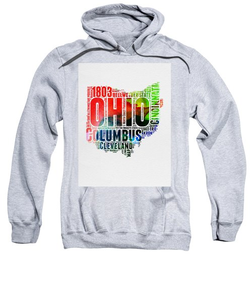 Ohio Watercolor Word Cloud Map  Sweatshirt