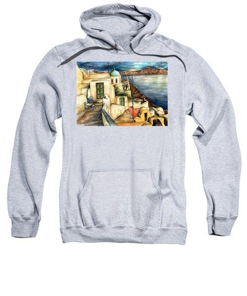 Oia Santorini Greece - Watercolor Sweatshirt