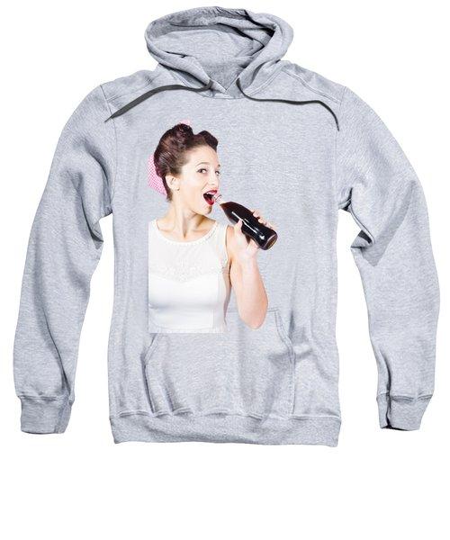 Old-fashion Pop Art Girl Drinking From Soda Bottle Sweatshirt
