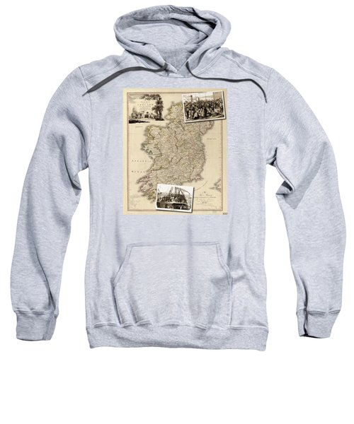 Vintage Map Of Ireland With Old Irish Woodcuts Sweatshirt