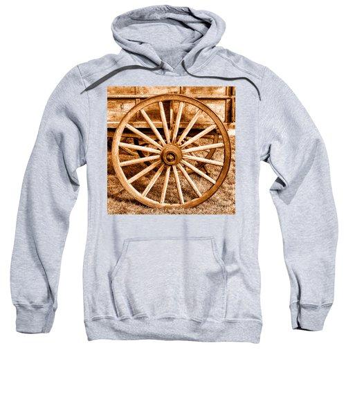 Old Prairie Schooner Wheel - Sepia Sweatshirt