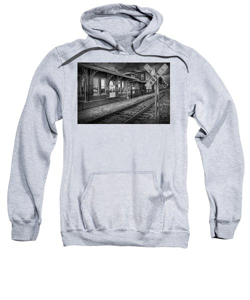 Old Train Station With Crossing Sign In Black And White Sweatshirt