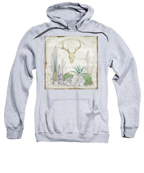 Old West Cactus Garden W Deer Skull N Succulents Over Wood Sweatshirt