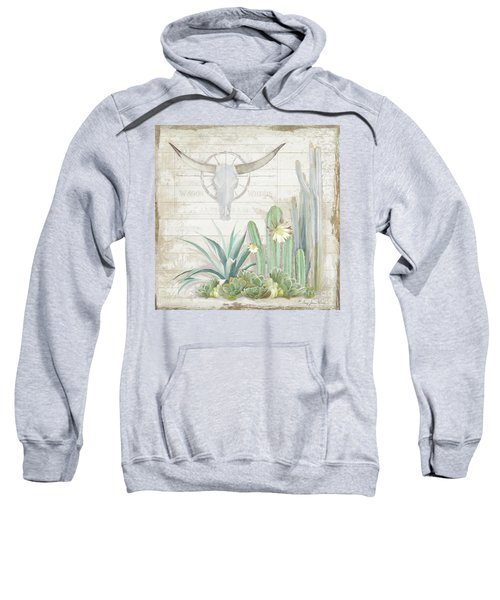 Old West Cactus Garden W Longhorn Cow Skull N Succulents Over Wood Sweatshirt