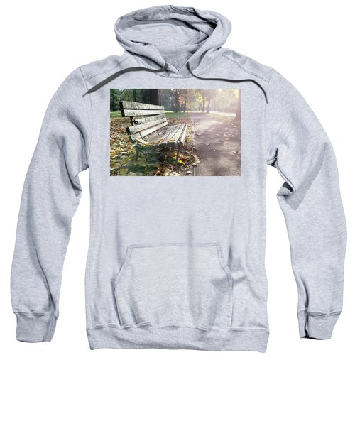 Rustic Wooden Bench During Late Autumn Season On Bright Day Sweatshirt