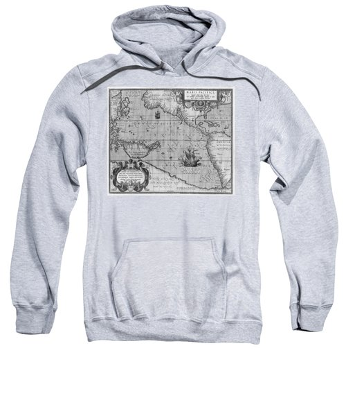 Old World Map Print From 1589 - Black And White Sweatshirt